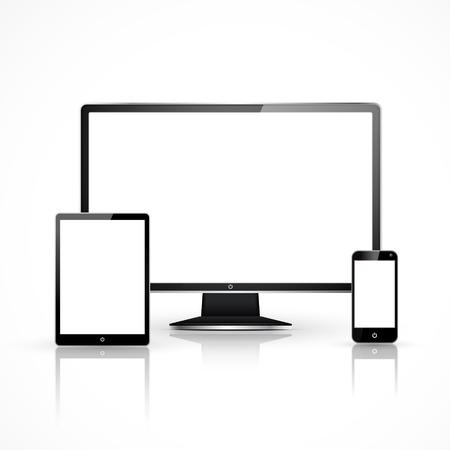 Illustration pour device set that includes TV, tablet, smart phone and laptop - image libre de droit
