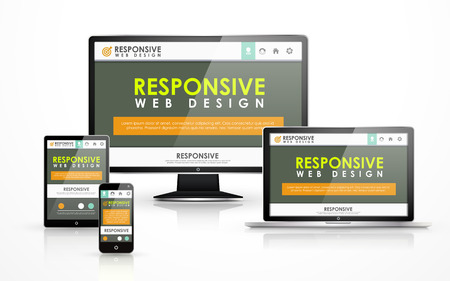 Illustration pour responsive web design concept in flat screen TV, tablet, smart phone and laptop - image libre de droit