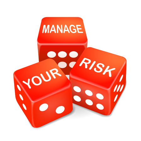 manage your risk words on three red dice over white background