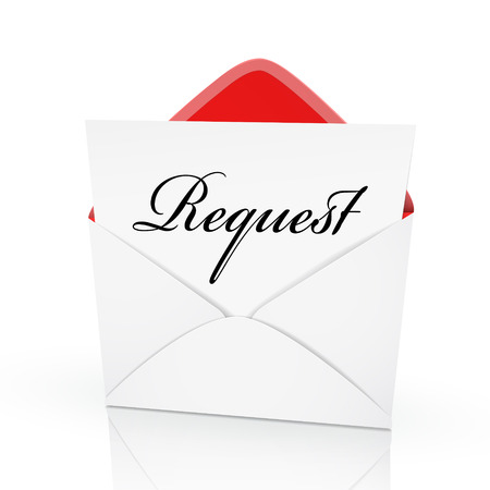 the word request on a card in an envelope