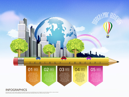 creative template of ecology concept with pencil flow chart infographic