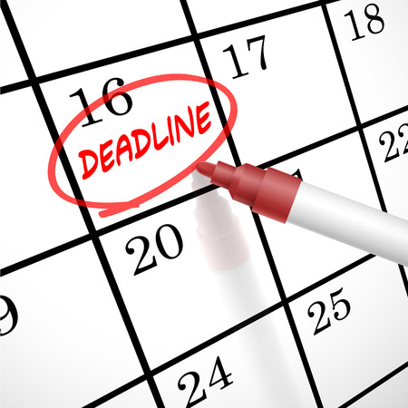 deadline word circle marked on a calendar by a red pen