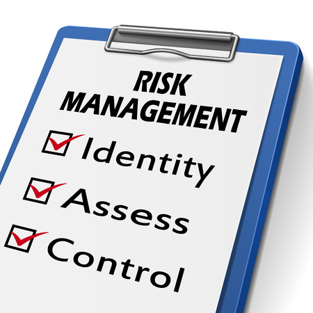 risk management clipboard with check boxes marked for identity, assess and control