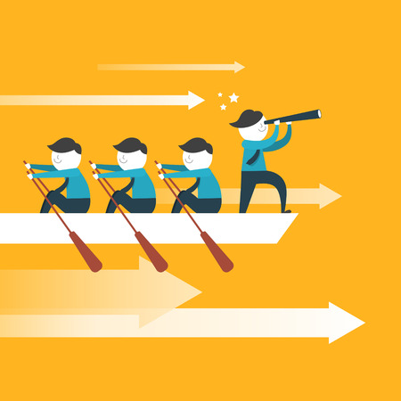Illustration pour flat design for team work concept over yellow - image libre de droit