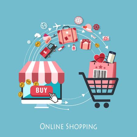 Illustration pour flat design for online shopping concept graphic - image libre de droit