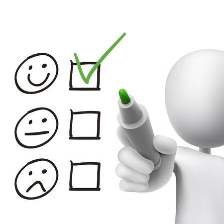 Illustration pour customer service questionnaire drawn by 3d man over white  - image libre de droit