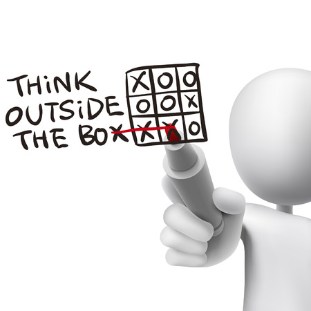 think outside the box words written by 3d man over white