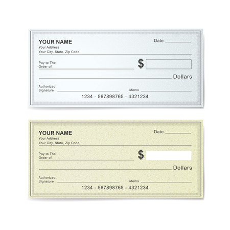 blank bank check template isolated on white