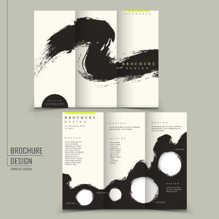 tri fold Chinese calligraphy style business brochure template