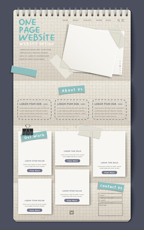 3d notebook style one page website design template