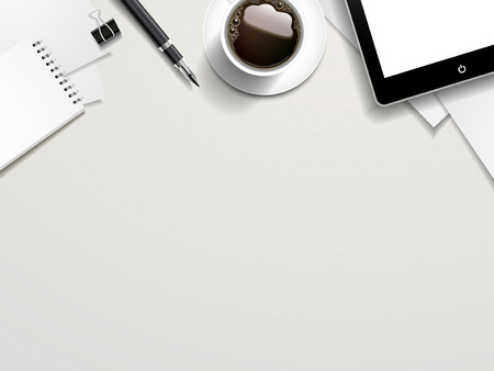 Illustration pour top view of working place elements on white table - image libre de droit