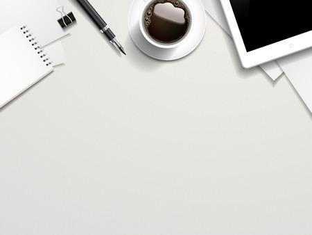 Illustration pour top view of working place elements on white table - image libre de droit