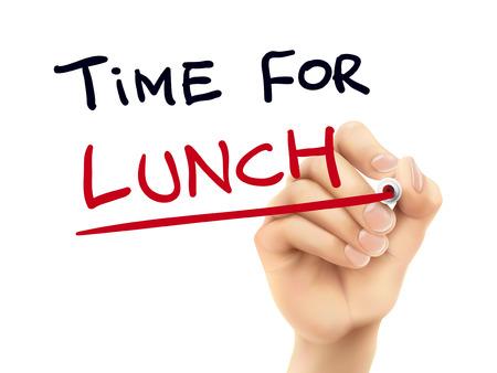 Vektor für time for lunch words written by hand on a transparent board - Lizenzfreies Bild