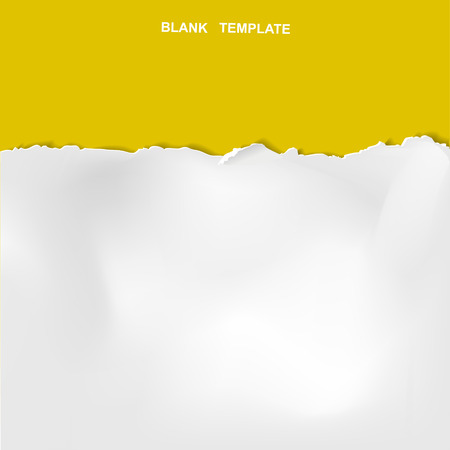 Illustration for ripped paper template isolated on yellow background - Royalty Free Image