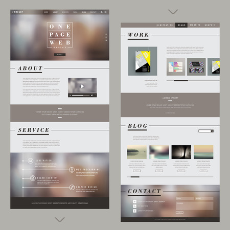 one page website template design with blurred background