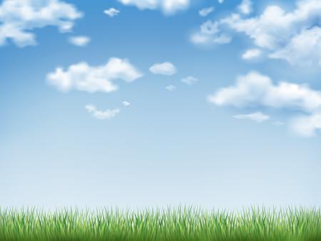 Ilustración de blue sky and field of green grass background - Imagen libre de derechos