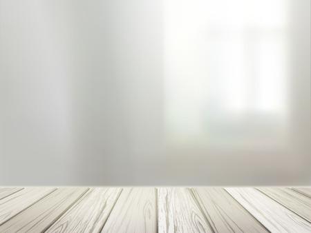 Illustration pour close-up look at wooden desk over blurred interior scene - image libre de droit