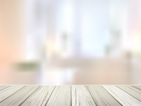 close-up look at wooden desk over blurred interior scene