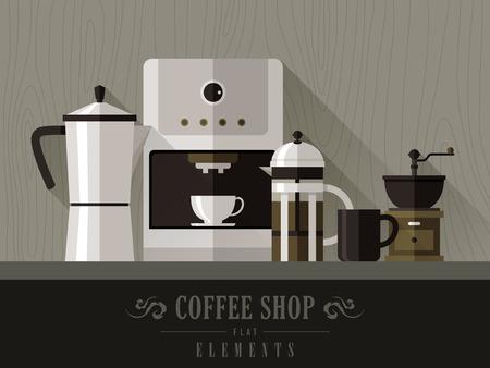modern coffee machine set in flat design style