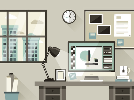 modern office interior illustration in flat design style
