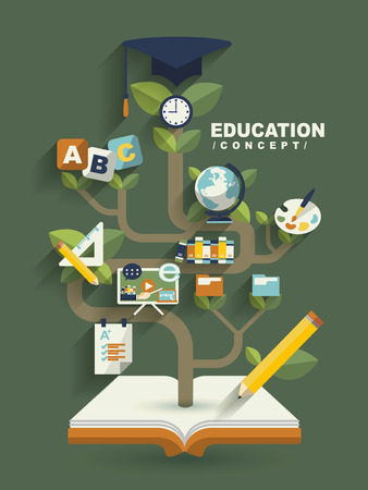 creative education concept flat design with book tree elements