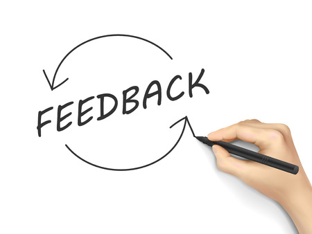 Illustration pour feedback word written by hand on a white board - image libre de droit