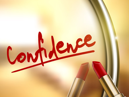confidence word written by red lipstick on glossy mirror