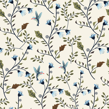 Illustration pour colorful adorable seamless floral pattern over beige background - image libre de droit