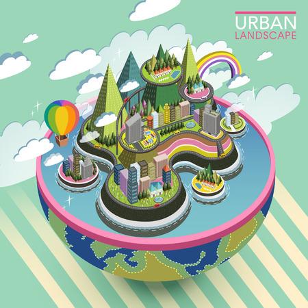 Illustration pour flat 3d isometric lovely urban landscape illustration - image libre de droit