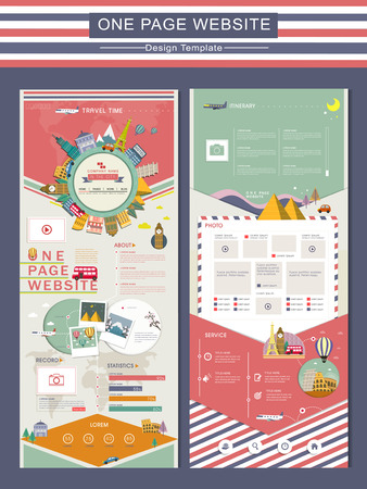 adorable travel concept one page website design template in flat