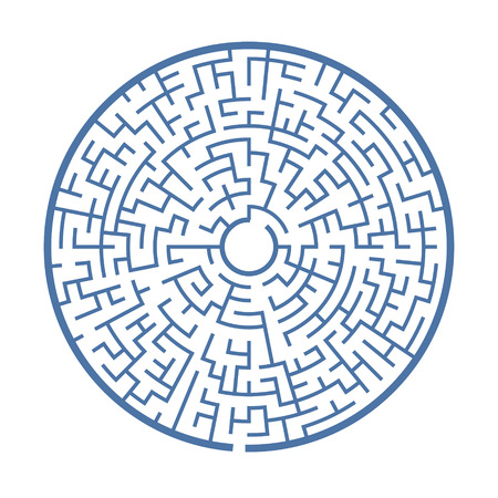 blue circular maze isolated on white background
