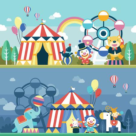 lovely circus performance scene set in flat design