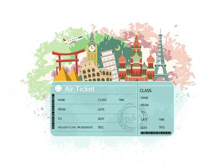 Ilustración de close-up look at flight ticket with famous monument around the world - Imagen libre de derechos