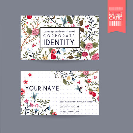 Illustration pour graceful business card design with lovely floral pattern over purple spotted white background - image libre de droit