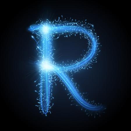 3d blue sparkler firework letter R isolated on black background