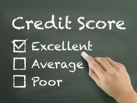 credit score survey written by hand on blackboard