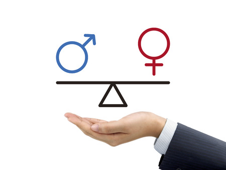 male and female equality concept holding by businessman's hand over white background
