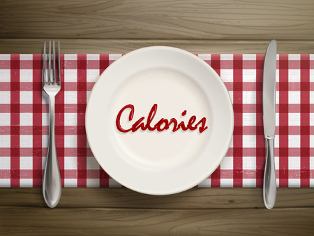 top view of calories word written by ketchup on a plate over wooden table