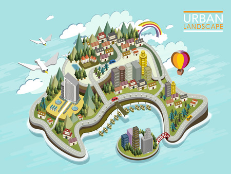 Illustration pour flat 3d isometric infographic for lovely urban landscape with forest and mountains - image libre de droit