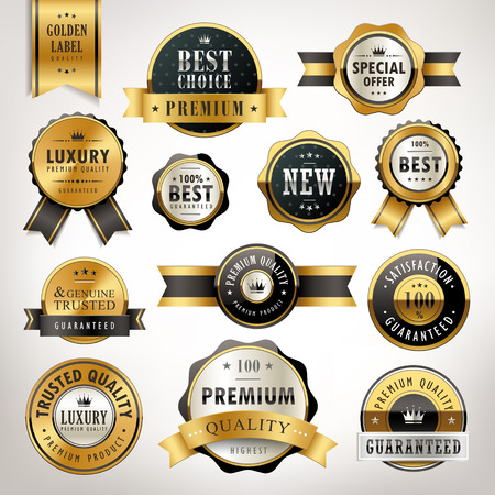 Ilustración de luxury premium quality golden labels collection over pearl white background - Imagen libre de derechos