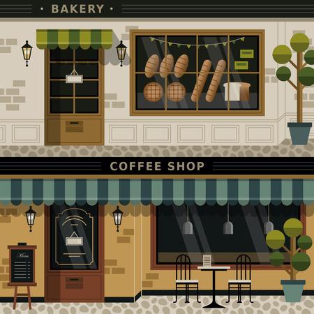 retro flat design of coffee shop and bakery facades