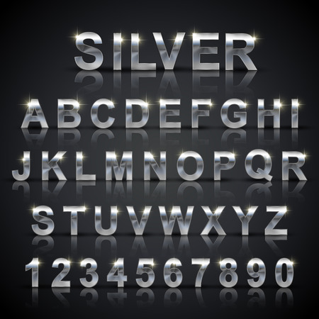 glossy silver font design set over black background