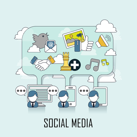 social media concept: people chatting with different media in line style