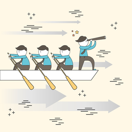 teamwork concept: businessmen rowing a boat in line style