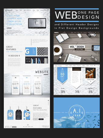 Illustration for modern one page website design template in flat style - Royalty Free Image
