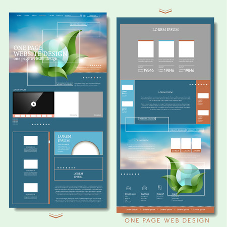 trendy one page website design template in flat style