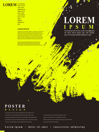 attractive poster template design with Chinese calligraphy brush strokes elements