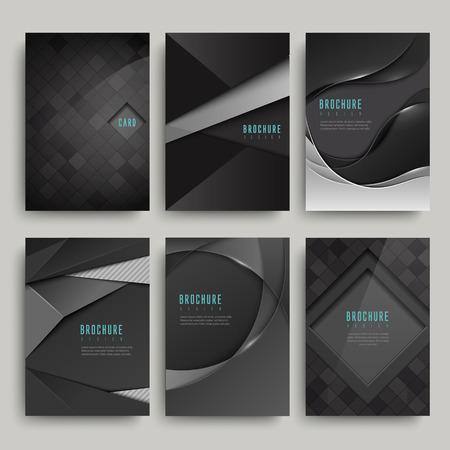 Ilustración de modern black brochure set isolated on grey - Imagen libre de derechos