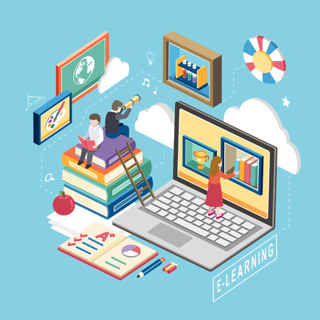 Illustration for flat 3d isometric design of e-learning concept - Royalty Free Image