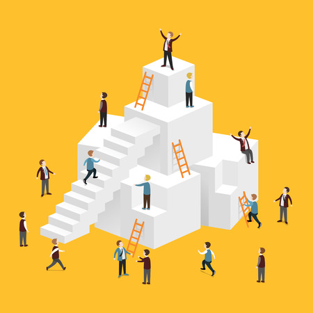 Illustration for flat 3d isometric design of heading for success concept - Royalty Free Image